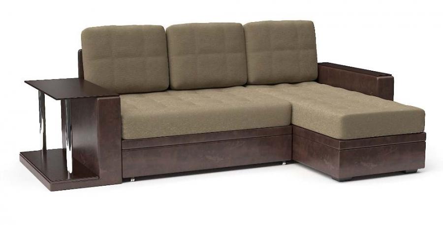 Угловой диван Адонис со столом дельфин экокожа коричневая + велюр беж