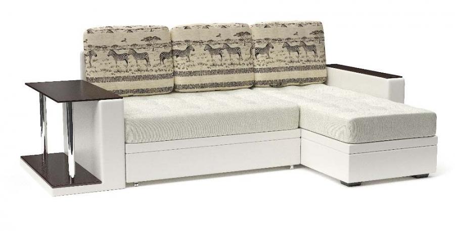 Угловой диван Адонис с подушками Animal еврокнижка экокожа белая + велюр белый