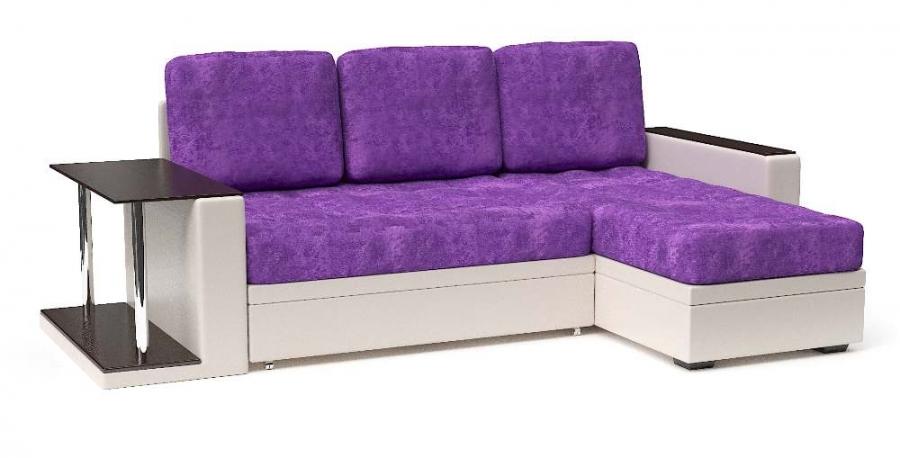 Угловой диван Адонис еврокнижка экокожа беж + велюр фиолетовый