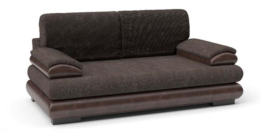 Прямой диван Флоренсия еврокнижка велюр коричневый + экокожа коричневая