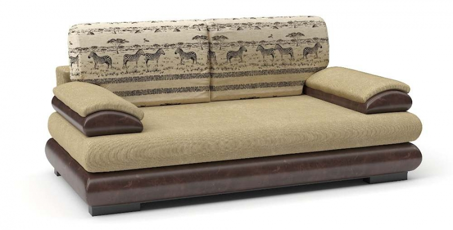 Прямой диван Флоренсия еврокнижка велюр бежевый+ экокожа коричневая