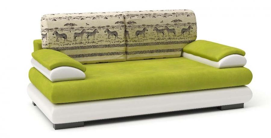 Прямой диван Флоренсия еврокнижка велюр яблоко+ экокожа белая