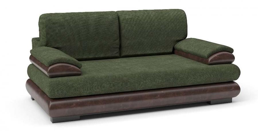 Прямой диван Флоренсия еврокнижка велюр зеленый+ экокожа коричневая
