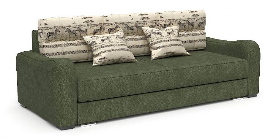 Прямой диван Нарцисс еврокнижка шенилл зеленый