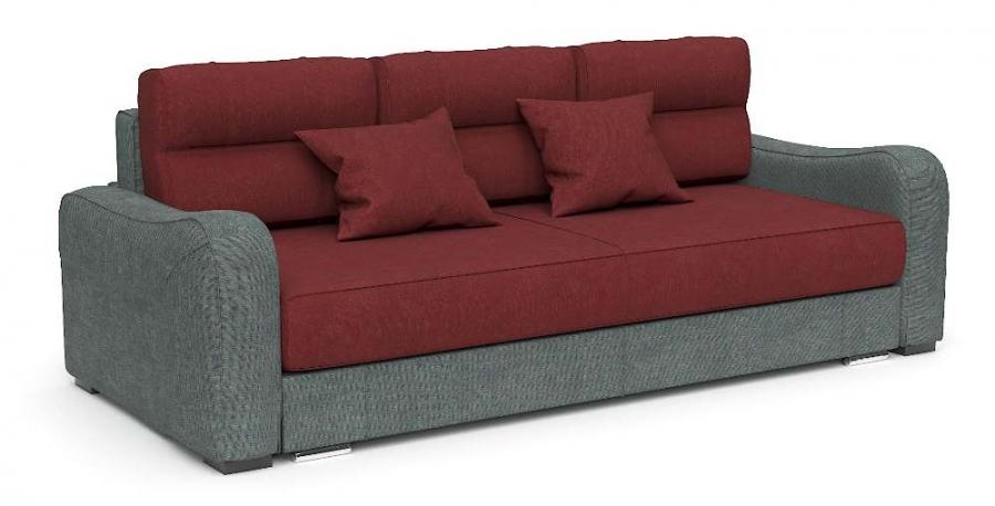 Прямой диван Нарцисс еврокнижка шенилл бордовый + серый