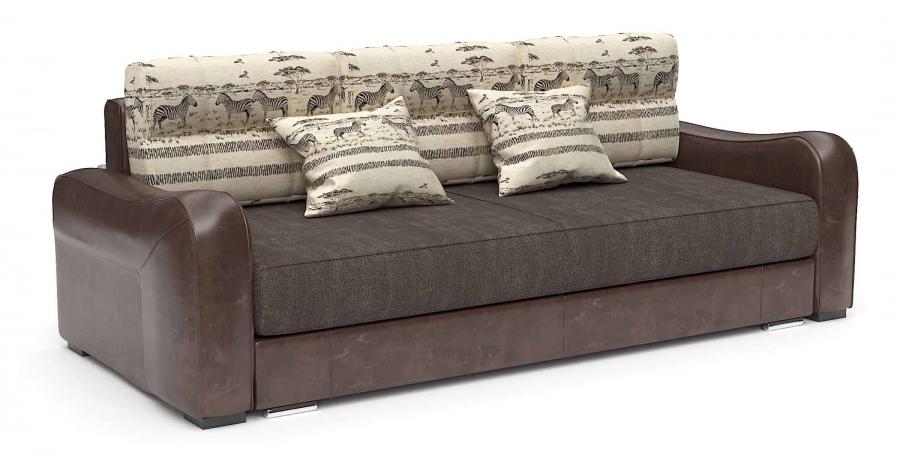 Прямой диван Нарцисс еврокнижка с подушками Animal шенилл коричневый + экокожа коричневая