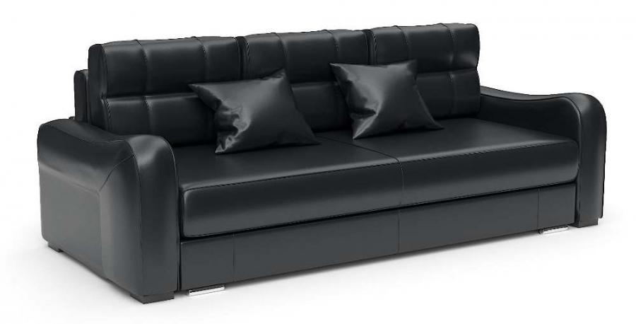 Прямой диван Нарцисс еврокнижка экокожа черная