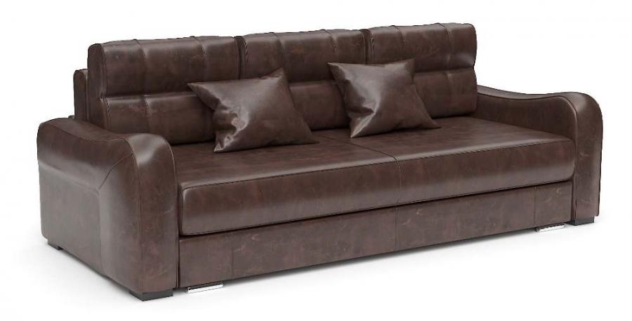 Прямой диван Нарцисс еврокнижка экокожа коричневая