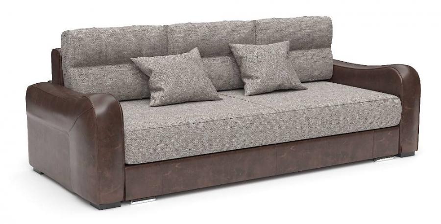 Прямой диван Нарцисс еврокнижка рогожка бежевая + экокожа коричневая