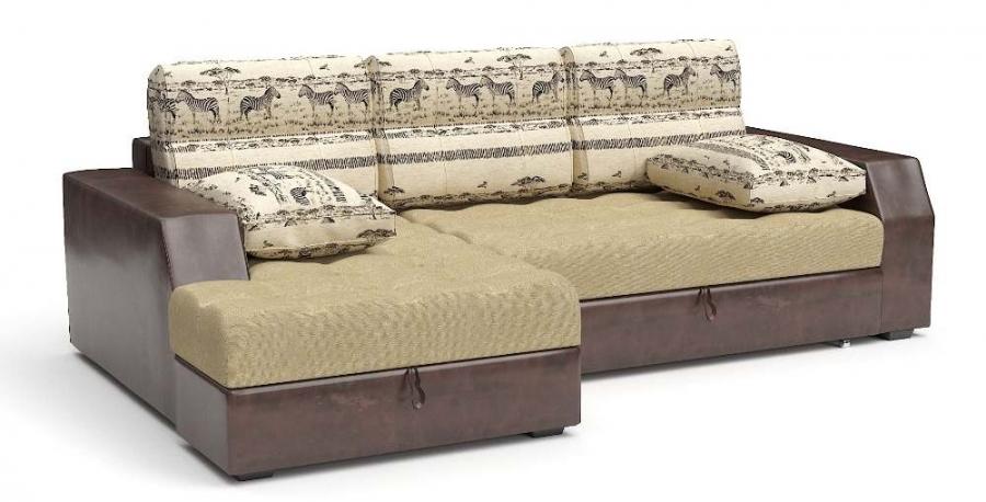 Угловой диван Лилия дельфин шенилл беж + экокожа коричневая подушки Animal