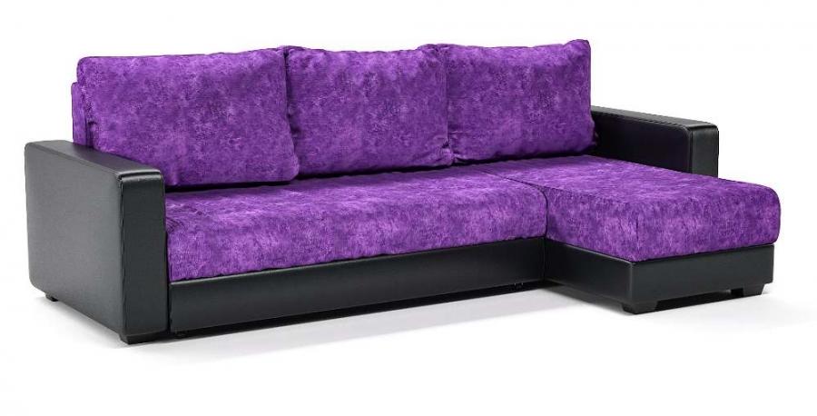 Диван угловой Монако еврокнижка фиолетовый велюр+черная экокожа