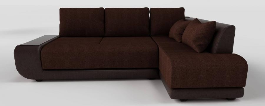 Угловой диван Радость пума коричневая экокожа + коричневая рогожка