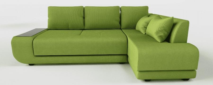 Угловой диван Радость пума зеленый велюр