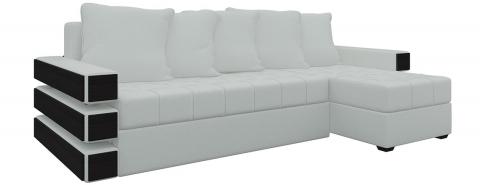 Угловой диван Венеция еврокнижка - Экокожа Белый
