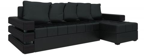 Угловой диван Венеция еврокнижка - Экокожа Черный