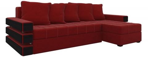 Угловой диван Венеция еврокнижка - Велюр Красный