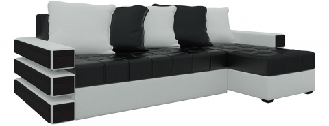 Угловой диван Венеция еврокнижка - Экокожа Черно+Белый