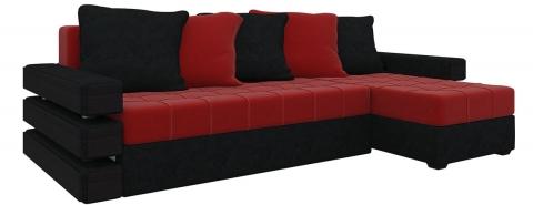 Угловой диван Венеция еврокнижка - Велюр Красный+Черный