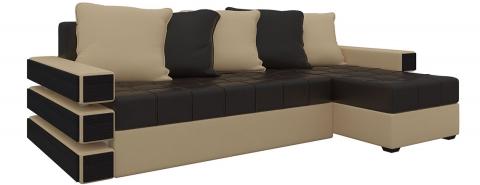 Угловой диван Венеция еврокнижка - Экокожа Коричневый+беж