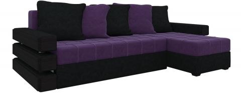 Угловой диван Венеция еврокнижка - Велюр Фиолетовый+Черный