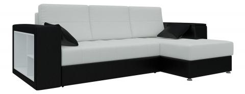 Угловой диван Атлантис еврокнижка - Экокожа Белый+Черный