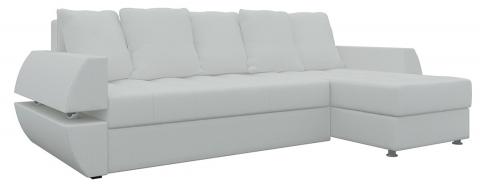 Угловой диван еврокнижка Атлант У/Т - Эко-кожа Белый