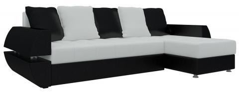 Угловой диван еврокнижка Атлант У/Т - Эко-кожа Белый+Черный
