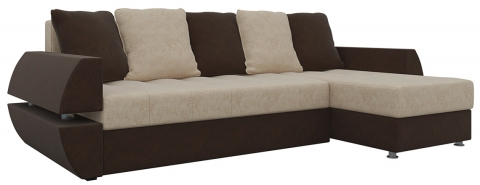 Угловой диван еврокнижка Атлант У/Т - Вельвет Бежевый+Коричневый