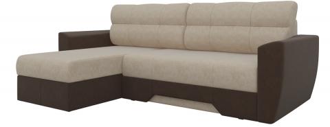 Угловой диван еврокнижка Амстердам - Вельвет Бежевый-коричневый