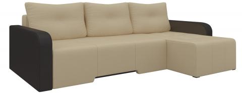 Угловой диван Манхеттен еврокнижка - Эко-кожа Бежевый+Коричневый