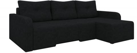 Угловой диван Манхеттен еврокнижка - Вельвет люкс Черный