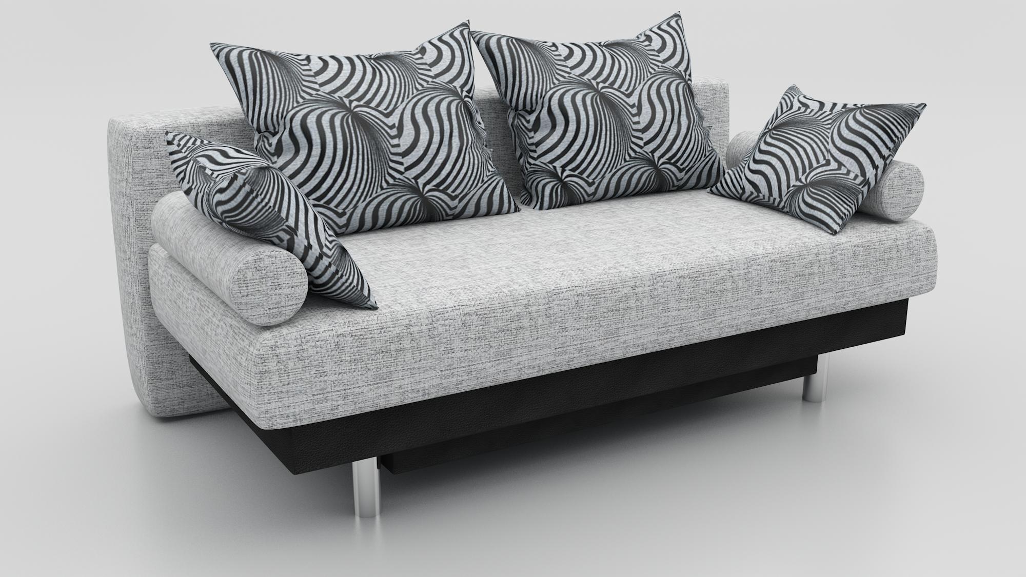 Прямой диван Парадиз еврокнижка рогожка серая + экокожа черная