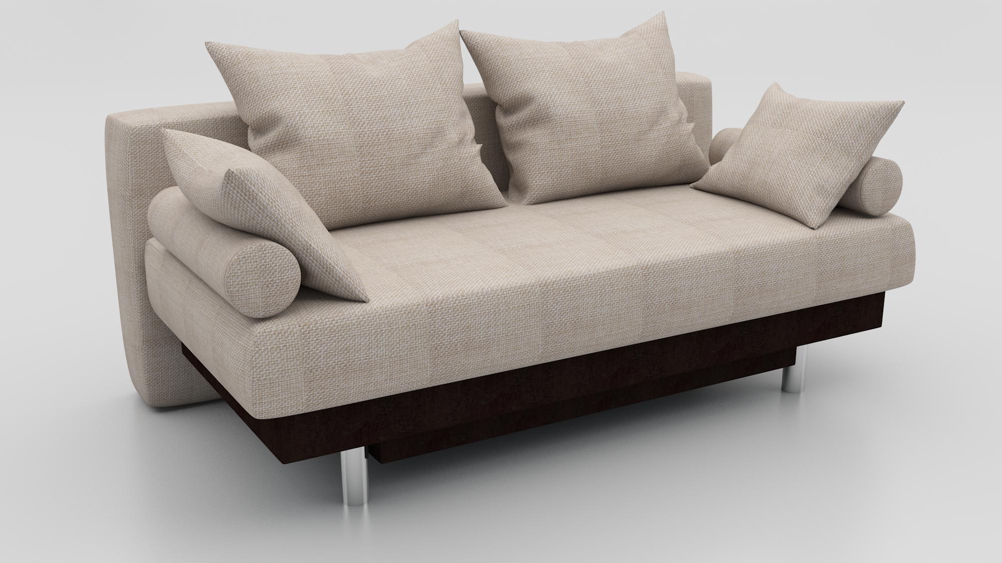 Прямой диван Парадиз еврокнижка рогожка бежевая + экокожа венге